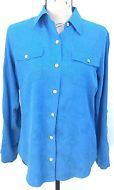 Chico's Design 100% Silk Blouse Teal Button-Down Size 0 XS