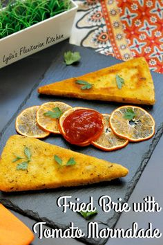 Fried Brie with Tomato Marmalade ~ Lydia's Flexitarian Kitchen