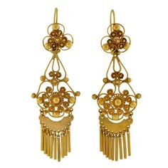A. Brandt + Son - Retro 14kt Gold Cannetille Wirework Earrings