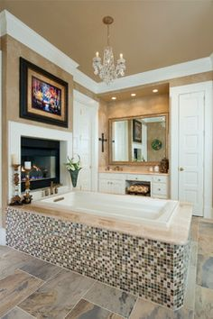 Bathroom with built in fireplace #bathroom #fireplace #dreamhome