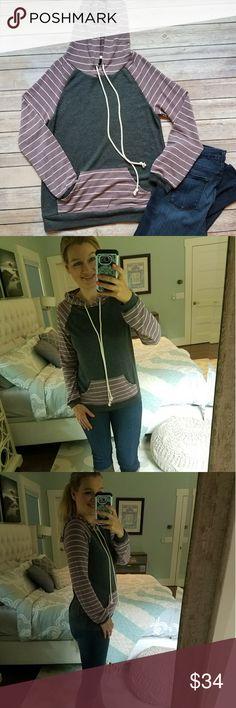 New! Purple striped Hoodie Sweatshirt Super soft and comfortable sweatshirt with hoodie. Le Lis Tops Sweatshirts & Hoodies