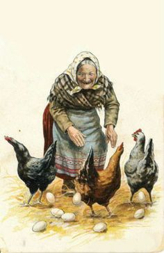 Easter Card - Love this Grandma and her chickens. Vintage Cards, Vintage Postcards, Vintage Images, Chicken Pictures, Chicken Art, Chickens And Roosters, Easter Art, Galo, Vintage Easter