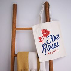 Go to the local fruit market rockin' this Five Roses Tote bag! x Cotton Canvas Durable webbed handles Montreal, Cotton Canvas, Reusable Tote Bags, Roses, Accessories, Pink, Rose