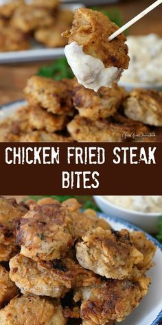 These chicken fried steak bites are delicious bite-sized bits of deliciousness and comfort food at it's best! These chicken fried steak bites are delicious bite-sized bits of deliciousness and comfort food at it's best! Chicken Fried Steak, Fried Chicken Recipes, Meat Recipes, Appetizer Recipes, Cooking Recipes, Appetizers, Beef Steak, Pork, Comfort Food Recipes