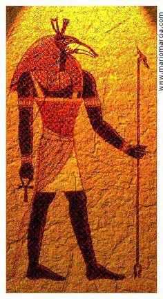Seth, o Set, deidad de la fuerza bruta, lo incontenible. Señor de lo que no es bueno y las tinieblas, dios de la sequía y del desierto. Seth fue la divinidad patrona de las tormentas, la guerra y la violencia, también fue patrón de la producción de los oasis. Se ha interpretado la bestia que representó a Seth como un cerdo hormiguero. Era hermano de Neftis (quien también era su esposa), de Isis y Osiris. Seth mató a Osiris para quedarse con el trono y luego tuvo una fuerte batalla con Horus.