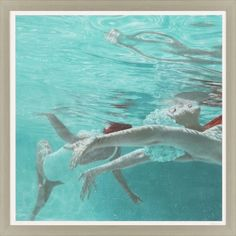Lovely swimming ladies gracefully glide in turquoise blue water in this large Underwater Tranquility modern coastal art piece. Coastal Wall Decor, Coastal Art, Underwater Swimming, Framed Art, Framed Prints, Modern Coastal, Dream Art, Beach Art, Figure Painting