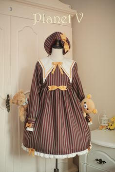 --> Newly Added: Planet V College School Style Striped Lolita OP Dress --> Only $58.99 during the pre-order --> Shop it here >>> http://www.my-lolita-dress.com/planet-v-college-school-style-striped-lolita-op-dress-pv-1