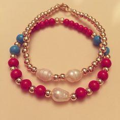 #zoecreations #jewelry #combinations #blue #pearls #perlas #bracelets #pulseras