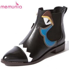 61.88$  Buy here - http://ali5n2.worldwells.pw/go.php?t=32719453117 - MEMUNIA funny pointed toe genuine leather college casual ankle boots elastic band cute hot sale autumn black women boots 61.88$