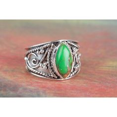 Amazing 925 Sterling Silver Green Turquoise Gemstone Ring via Polyvore featuring jewelry, rings, green jewelry, blue turquoise ring, sterling silver turquoise jewelry, green gemstone jewelry and turquoise jewelry