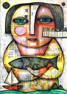 MARINE LADY by Dan Casado. Daniel 'Dan' Casado Spanish self-taught artist, born in Argentina in 1956. Living in Spain since 1980, with home-studio in the island of El Hierro, Canary Islands Member of WHO-HA DA-DA Outsider Art Movement, USA Member of AMIS Art Insolite, FRANCE