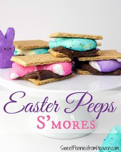 Easter Peeps S'Mores - Including Gluten Free Options. This is such an easy treat to make and the kiddos will love helping. Super cute too!