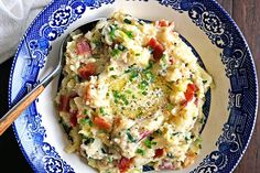 Colcannon Irish Mashed Potatoes - red potatoes, cream and garlic are mashed together with green cabbage and kale. Mine are topped with crisp bacon & butter! keviniscooking.com