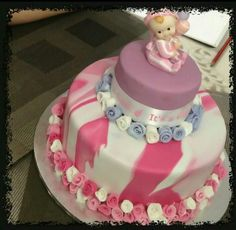 Marble Fondant Cake- baby shower cake- it's a girl