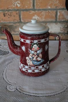 Gingerbread Tea Pot....Red with White....Ginger Decor..  Country Decor..Ginger Collector...Kitchen Decor..Housewarming Gift. $44.95, via Etsy.