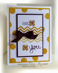 Stampin' Up!  ... handmade card from Me, My Stamps and I: Simply Simple ... like the layout with wied mat/frame layer under focal point ... light and bright, mostly white ... spots and chevrons from Work of Art ... mustard and wine  ... fun card!