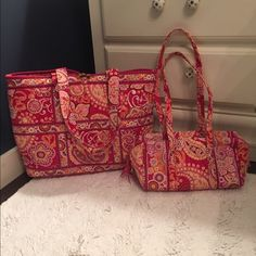 "🔥 ONE HOUR SALE! 🔥Vera Bradley Tote & Duffel 2 Pieces: GUC Large Tote and Small Duffel available. Retired pattern Raspberry Fizz.  Tote is 18""W X 12""H. Duffel is 11""W X 6-1/2""H. No rips or tears. Excellent condition. Smoke free home. Price is firm. No Trades. Vera Bradley Bags Totes"