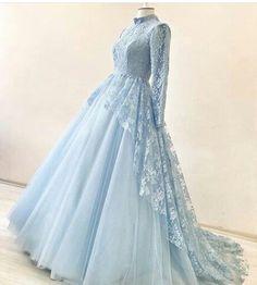 ideas for fashion dresses prom cinderella Hijab Dress Party, Hijab Evening Dress, Lace Evening Dresses, Elegant Dresses, Pretty Dresses, Beautiful Dresses, Muslimah Wedding Dress, Muslim Wedding Dresses, Bridal Dresses