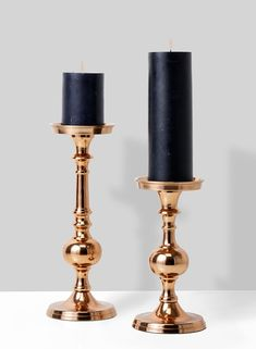 light copper pillar candle holders with black candles Gold Candles, Black Candles, Pillar Candles, Copper Candle Holders, Candle Holders Wedding, Candle Holder Decor, Candlestick Holders, Candlesticks, Candle Chandelier