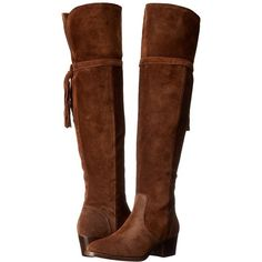 Frye Clara Tassel Over-The-Knee (Wood Oiled Suede) Women's Boots ($548) ❤ liked on Polyvore featuring shoes, boots, over-the-knee boots, suede thigh high boots, boho boots, frye over the knee boots, over-knee boots and fold-over boots