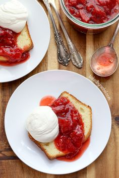 Sour cream pound cake loaf with roasted strawberries and whipped cream recipe