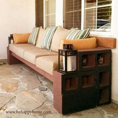 Diy cinder block outdoor furniture Concrete Block Diy Outdoor Seating With Basically Cinder Blocks Lumber And Pillows 1001 Gardens How To Make Cinder Block Bench 10 Amazing Ideas To Inspire You - ixiqi Outside Seating, Outdoor Seating, Outdoor Spaces, Outdoor Living, Outdoor Decor, Outdoor Couch, Outdoor Ideas, Cinder Block Furniture, Cinder Block Bench