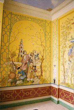 Considered doing a lattice on the bottom like this...  Chinoiserie Mural by Michael Dillon