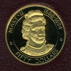 """Cayman Islands Gold Coins - $50 Dollars Gold Coin of 1977, Queen Mary II """"- Queens of England""""."""