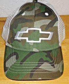 72fe54fe471 CHEVY Logo Baseball Cap Hat Mesh Back Adjustable Size Unisex Camo  amp   White NWT