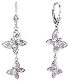 Beautiful butterfly earrings for the bride! 14k white gold diamond butterfly earrings made in the U.S.A.  Free U.S. Shipping everyday. These butterfly earrings will help make your butterfly wedding special.