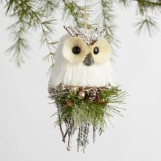 World Market Natural Fiber Icy Owl Ornament Winter Wonderland Christmas, Christmas Owls, Woodland Christmas, Winter Christmas, Handcrafted Christmas Ornaments, Holiday Ornaments, Reindeer Decorations, Christmas Decorations, Owl Ornament