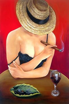 Oil Paintings on Canvas Cuban Art by Bobby Rodriquez from Miami (Wine Art) Cigars And Women, Women Smoking Cigars, Cigar Smoking, Smoking Ladies, Cigar Art, Wine Art, Oil Painting On Canvas, Oil Paintings, Acrylic Paintings