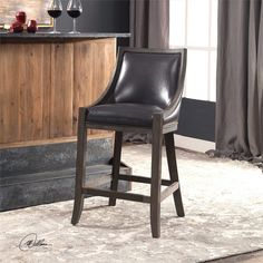 Uttermost Elowen Leather Counter Stool Leather Counter Stools, 26 Bar Stools, Swivel Bar Stools, Bar Chairs, Metal Wall Decor, Accent Furniture, Brown And Grey, Gray, Solid Wood