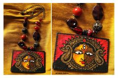 https://www.facebook.com/bagsbyartmeetsfashion #handpainted #necklace #indiangoddess #maadurga #black #beads #art #fashion #artmeetsfashion #festive #handmade