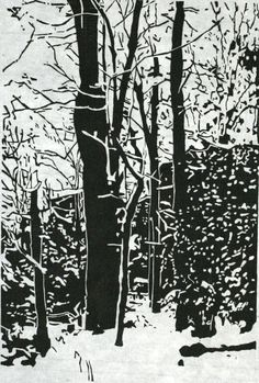 Overnight Snowfall new woodcut of Cook Forest black by printsnat