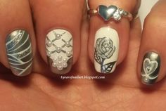 Wedding nails (white-silver themed) 1yearofnailart.blogspot.com
