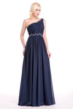 Frete grátis um ombro Chiffon rosa Formal vestido vestidos 2016 azul andar de comprimento vestidos de baile