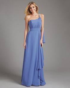 Blue From pastel to navy to midnight, blue is the hot new hue for your maids. This one-shouldered Allure Bridal number doesn't only get top points for being bang on trend in terms of colour, but it also picks up on another dreamy detail for next year – embellishments. So give your girls a little sparkle with a one-shoulder detail like this, or perhaps a sparkly brooch.