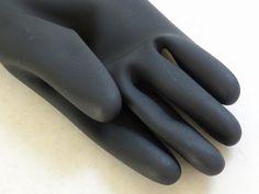 New Long Black Latex Wrist Rain Rubber Gloves Made in Japan Nippon