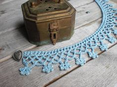 Crochet necklace choker / pastel sky blue / cotton / heart button / romantic / Valentine's Day / for her / birthday gift / summer flowers