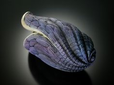"""Seaforms by Jacques Vesery. """"Of Sea and Sky"""" 2004. 5.5"""" x 2.5"""" carved/textured cherry, 23 kt gold leaf"""