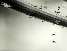 The USS Macon releases her Sparrowhawks, 1933