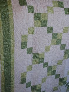 Handmade Lap Quilt  Irish Chain in Fairy Frost by QuiltsintheCity, $150.00