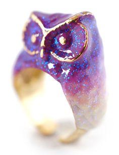 Purple Owl Ring.