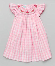 Look what I found on #zulily! Pink Gingham Watermelon Bishop Dress - Infant, Toddler & Girls #zulilyfinds