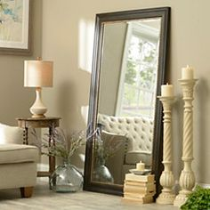Accent your bedroom's style with a Kirkland's floor mirror or full length mirror! Our selection of floor mirrors will have something that reflects your style! Living Room Mirrors, Living Room Flooring, Living Roon, Tall Mirror, Large Floor Mirrors, Black Framed Mirror, Black Floor Mirror, Huge Mirror, Large Mirrors