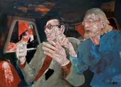 """Les Fleurs du Mal - This contemporary tableau was created by the renowned figurative artist Martin Wallace from his Brittany studio in France in 2011.  Acrylic on panel.  Dimensions: 90cm x 60cm approx.  """"The vision of these dubious figures in the back seat of a passing limousine portrays the corruption derived from drug cartel activists. The social polarisation engendered by these conditions creates this street scene of 'fallen women' as seen through the car window"""". Martin Wallace"""