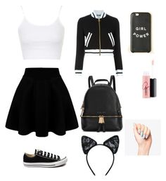 A fashion look from February 2016 featuring Topshop tops, Moschino jackets and Converse sneakers. Browse and shop related looks. Polo Outfits For Women, Stylish Dresses For Girls, Outfits For Teens, Trendy Outfits, Clothes For Women, Clueless Outfits, Kpop Fashion Outfits, Cute Comfy Outfits, Cool Outfits