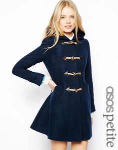 ASOS Petite Ultimate Hooded Duffle Coat in Navy UK 12 US 8 EUR 40 ...