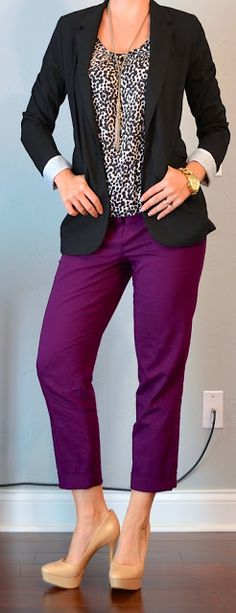 Outfit Posts: outfit post: black blazer, polkadot blouse, purple cropped pant - (love the purple pants) Office Outfits, Casual Outfits, Cute Outfits, Purple Pants Outfit, Purple Outfits, Vinyl Pants, Colored Pants, Polka Dot Blouse, Work Wardrobe
